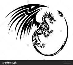 Furious Flying Dragon Tattoo Symbol Wing Stock Vector 356283767 ...