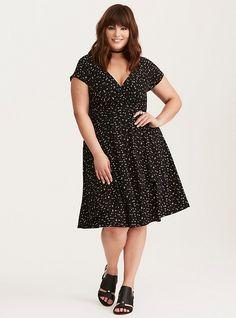 Plus Size Star Print Surplice Dress, FALLING STARS