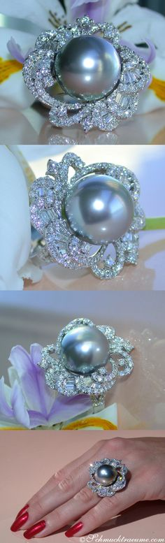 Huge Tahitian Pearl (15mm) Diamond Ring, 2,80 ct. G-VS - Visit: schmucktraeume.com Like: https://www.facebook.com/pages/Noble-Juwelen/150871984924926 Mail: info[at]schmucktraeume.com