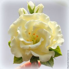 Купить лизиантус с бутонами на зажиме - заколка для волос, лизиантус, цветы ручной работы, цветы в украшении