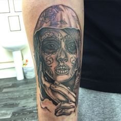 Day of the dead portrait tattoo realistic