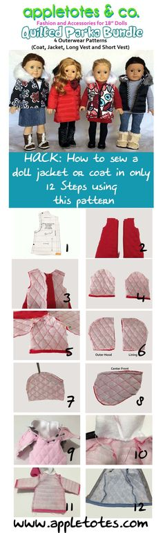 DIY Coat or Jacket in 12 easy steps. American Girl Doll clothes. Perfect pair for jeans, short skirts, leggings, etc.