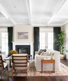Client West Coast Is The Best Coast by Amber Interiors + Living room with large sofa and dark panel curtains – Living room Design Living Room, Family Room Design, Living Room Modern, Home Living Room, Small Living, Family Rooms, Living Area, Home Design, Design Salon