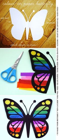 Paper Butterfly ''sun-catcher''! To make your butterfly ''sun-catcher'' you will need•Black paper • Tissue paper • Pencil crayon • Scissors • Craft knife (optional) • Glue-stick.
