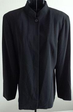 Vintage Emanuel Ungaro Black Jacket Blazer Top Mandarin Collar Size Medium #EmanuelUngaro #Jacket