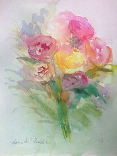 Original Watercolour Painting - Misty Bouquet - Signed Annabel Burton