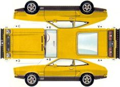 Mustang II Hatchback Paper Model - by Mustang Attitude Paper Model Car, Paper Car, Paper Models, Cardboard Toys, Paper Toys, Cool Car Drawings, House Template, Origami Paper Art, Fabric Dolls