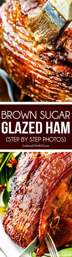 Brown Sugar Glazed Ham (with step by step photos) is beautifully juicy, seeping with flavor, with crispy caramelized edges and the BEST Brown Sugar Glaze you will ever sink your teeth into!  This Baked Ham is the perfect centerpiece for Easter and Christmas! #easter #easterham