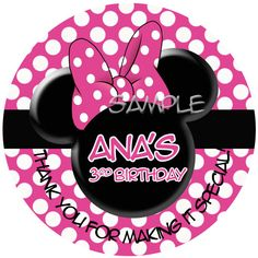 """Personalized Stickers Minnie Mouse, Birthday Girl Personalized Labels Size 2.25"""" by PaperDazzle on Etsy https://www.etsy.com/listing/126383701/personalized-stickers-minnie-mouse"""