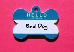 Customized Bone Metal Pet ID Tag  Hello Tag by BowWowzerZ on Etsy