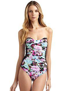 d02ec46edc259 Spanx - Multicolor Watercolor Lace One Piece Swimsuit - Lyst