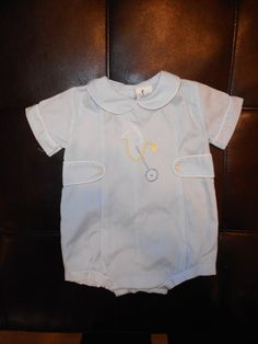 538a1c754f28 Alexis Blue Bubble Romper Embroidered Stick Horse Size 3 Months