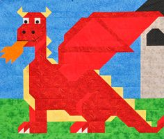 Dragon quilt pattern with multiple sizes by CountedQuilts on Etsy, $9.00