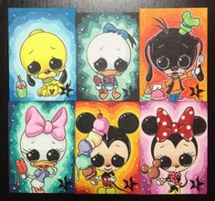 Sugar Fueled Fab 6 Mickey Mouse Minnie Goofy Donald Duck Daisy Pluto lowbrow pop surrealism creepy cute big eye ACEO mini print