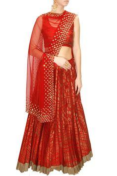 INTRODUCING : Red sequins embellished block printed lehenga set by Astha Narang. Shop now at www.perniaspopups... #fashion #designer #krishnamehta #shopping #couture #shopnow #perniaspopupshop #happyshopping