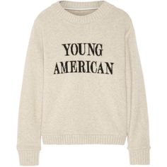 The Elder Statesman Young American intarsia cashmere sweater (€470) ❤ liked on Polyvore featuring tops, sweaters, shirts, sweatshirts, ecru, america shirts, cashmere top, layering shirts, drape shirt and cut loose shirt