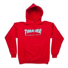 Thrasher Skate Mag Hoodie - Red ($35) ❤ liked on Polyvore featuring tops, hoodies, hoodie top, hooded pullover, hooded sweatshirt, red hoodie and red top