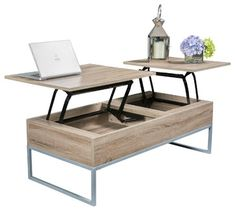Ditmar Lift-Top Storage Coffee Table, Natural Brown contemporary-coffee-tables