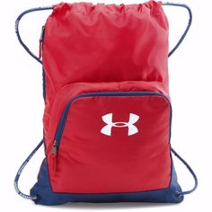 f980e04f79 Under Armour Exeter II Sackpack Red Blue White Lettering Gym Sack  1286663-449
