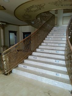 Laser cut screen sweeping staircase Staircase Railings, Balcony Railing, Staircase Design, Stairways, Iron Handrails, Laser Cut Screens, Concept Home, Iron Gates, Stairway To Heaven