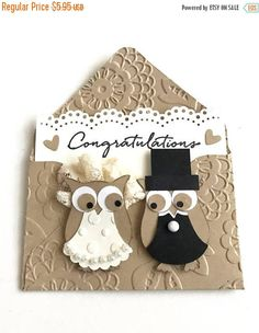 Wedding Money Holder/Bride and Groom Gift Card/Engagement Cards/Wedding Day/Anniversary/Congratulations Cards/Hand Embossed/Owl Punch Art This adorable gift card holder was handmade and created by me using Stampin'Up! products. I hand embossed the card base and the hand stamped sentiment on