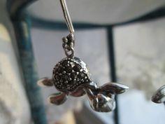 Vintage Designer Swimming Turtle Marcasite 925 Sterling Silver Pair of Earrings, Wt. 5.2 Grams, 1 1/2 Inch Long