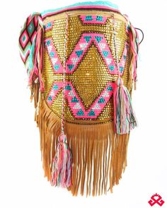 GypsyChila: Wayuu Mochila with crystals and leather fringes 😍#LuxuryMochilas #LUXCHILAS  For more details please visit: shop.luxchilas.com (Link in profile) • • • #handmade #handbags #fairtrade #crystals #leather #fringes #bohemian #wayuubags #tassel #pompom #miami #unique #exclusive  #happy #bold #giveback #sun #luxury  #luxurylife #bohochic #gypsy #fashion #accessories #wayuuhat #wayuu #boutique #showroom #shopluxchilascom
