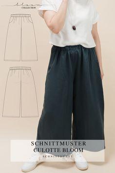 Unser Schnittmuster Culotte Bloom ist eine lässig geschnittene High-Waist-Hose mit weiten Beinen und elastischem Bund – modern aber zeitlos. Bequem wie eine gemütliche Hose, elegant und schwungvoll wie ein Rock. Style deine Culotte Bloom lässig und sportlich mit einem engen Shirt oder cropped Top – oder etwas schicker mit einer weißen Bluse und hochgekrempelten Ärmeln. Ob mit Sneakers, Ballerinas oder High Heels, kreiere vielseitige Looks mit deiner neuen selbstgenähten Lieblingshose. Cropped Tops, Diy Kleidung, Rock Style, Tweed, Elegant, Pants, Outfits, Fashion, Fashion Styles