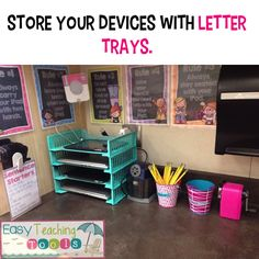 I like the idea of using letter trays to store devices. I think cords could be well hidden!