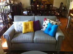 painted loveseat... done with chalk paint!  Awesome.