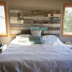 Farmhouse Rustic chippy paint cottage whitewashed grey blue headboard bed distressed wood king queen full twin lights - Home decor - Modern Bedroom, Bedroom Decor, Bedroom Ideas, Wicker Bedroom, Contemporary Bedroom, Modern Contemporary, Reclaimed Wood Headboard, Diy Rustic Headboard, Wood Pallet Headboards