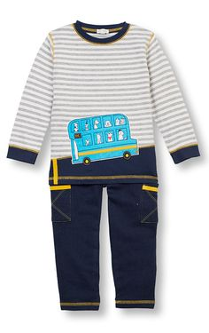 LeTop A Dog's Life Stripe Shirt & Navy French Terry Pant Set with full elastic waist. Infant & Toddler Sizes