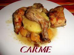 Conejo con frutos secos y sidra al horno. Ver receta: http://www.mis-recetas.org/recetas/show/39885-conejo-con-frutos-secos-y-sidra-al-horno