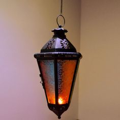 Morocco Colored Embossed Glass Balcony Pendant Lamp Foyer Pendant Lamp Decorative Candle Light
