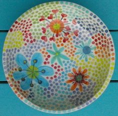 Ceramic bowl dotpainted with colourful flowers