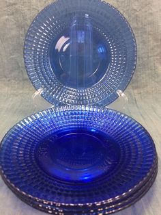 Set of 4 Forte Crisa Cobalt Blue Glass Saucers - Mexico #ForteCrisa