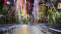 SO many colourful flowers! Christian Dior Paris Runway Spring/Summer 2014 via Yellowtrace.