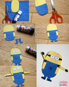 Des minions en papier                                                                                                                                                     Plus Art For Kids, Crafts For Kids, Diy Crafts, Minion Birthday, Foam Sheets, Art N Craft, Pajama Party, Disney Diy, Creative Gifts