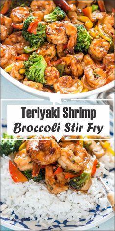 teriyaki shrimp broccoli stir fry - All About Health Food Recipes - All About He. - teriyaki shrimp broccoli stir fry – All About Health Food Recipes – All About Health Food Recip - Shrimp Recipes For Dinner, Seafood Recipes, Appetizer Recipes, Beef Recipes, Vegetarian Recipes, Cooking Recipes, Healthy Recipes, Shrimp Appetizers, Frozen Shrimp Recipes
