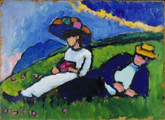 Marianne von Werefkin and Alexi Jawlensky (1908-1909) by Gabriele Münter (1877-1962), German, oil on canvas - was a German Expressionist painter who was at the forefront of the Munich avant-garde in the early 20th century. In 1911 Münter, Kandinsky, and Franz Marc founded the expressionist group known as Der Blaue Reiter (The Blue Rider). The group shared a common desire to express spiritual truths through art. (wiki) - (lilacs in the door yard)