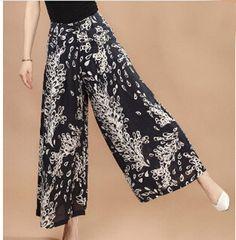 Plus size Summer Women Print Flower Pattern Wide Leg Loose Linen Dress Pants…