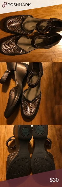 Nurture bronze sz 7 wedges with ankle strap shoes Nurture brand size 7 wedges in a bronze. The top of the foot has a basket weave. There's a ankle strap that is Velcro to hold your foot in place. Don't like my price make an offer. Smoke free but pet friendly nurture Shoes Wedges
