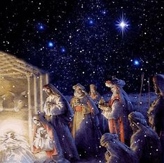 O Holy Night ❤️ the birth of our Lord Jesus ❤️ Christmas Scenes, Christmas Nativity, Noel Christmas, Vintage Christmas Cards, Christmas Pictures, Christmas Greetings, Irish Christmas, Christmas Glitter, Gif Noel