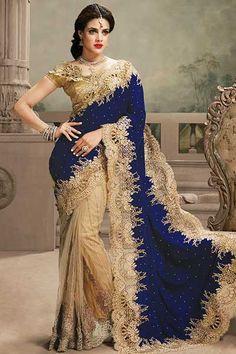Sapphire Blue and Cream Yellow Velvet and Net Festival Saree Sku Code:69-4190SA162837 $ 277.00