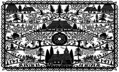 Wycinanki paper cuttings by Susan L. Folk Festival, Paper Artist, Kirigami, Altered Books, Paper Cutting, Amazing Art, Folk Art, Silhouettes, Black And White