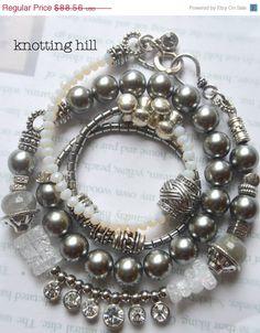 ON SALE charm bracelet, wrap bracelet, labradorite bracelet, cz bracelet, artisan bracelet, hematite bracelet, pearl bracelet, free shipping