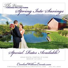 Spring into Savings at The Venue at Crooked Willow Farms! Venue Rental Starting at $5,000...Book by 12.01.14!!   #CrookedWillowFarms #ColoradoWeddings #LarkspurWeddings #Bride #Groom #COWeddings #TheVenueAtCrookedWillowFarms #Barn #RedBarn #BarnWeddings #CrookedWillowEvents #Larkspur
