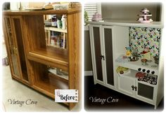 Before & After of the Play Kitchen I made for my girls out of a Entertainment Center. ~ by Vintage Cove.