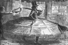 """Garotting was no joke in 1850s London and caused an understandable panic. This, however, is classic Punch for a suggestion: """"Mr Remble borrows a hint from his wife's crinoline, and invents what he calls his 'patent anti-garotte overcoat,' which places him completely out of harm's reach in his walks home from the City (Punch, 27 December 1856) via Victorian London"""
