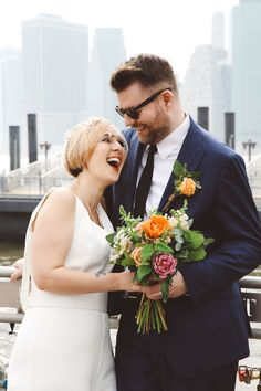 Susi & Richard NY City Hall Wedding | L&L Style Photo Brooklyn Bridge Park, City Hall Wedding, Graffiti Wall, Bridesmaid Dresses, Wedding Dresses, Neon Colors, Wedding Couples, Fashion Photo, Weddings